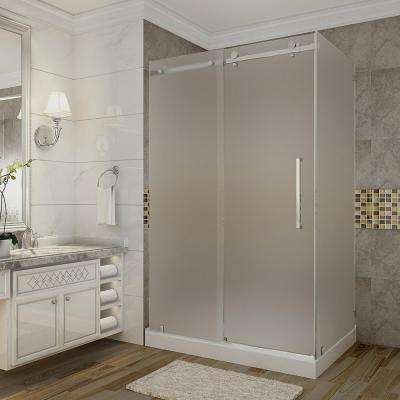 Moselle 48 in. x 35 in. x 77.5 in. Frameless Sliding Shower Enclosure and Frosted in Stainless Steel with Right Base