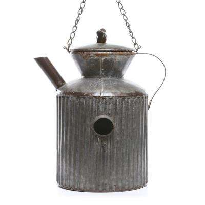 13 in. Tall Watering Tin Can Birdhouse