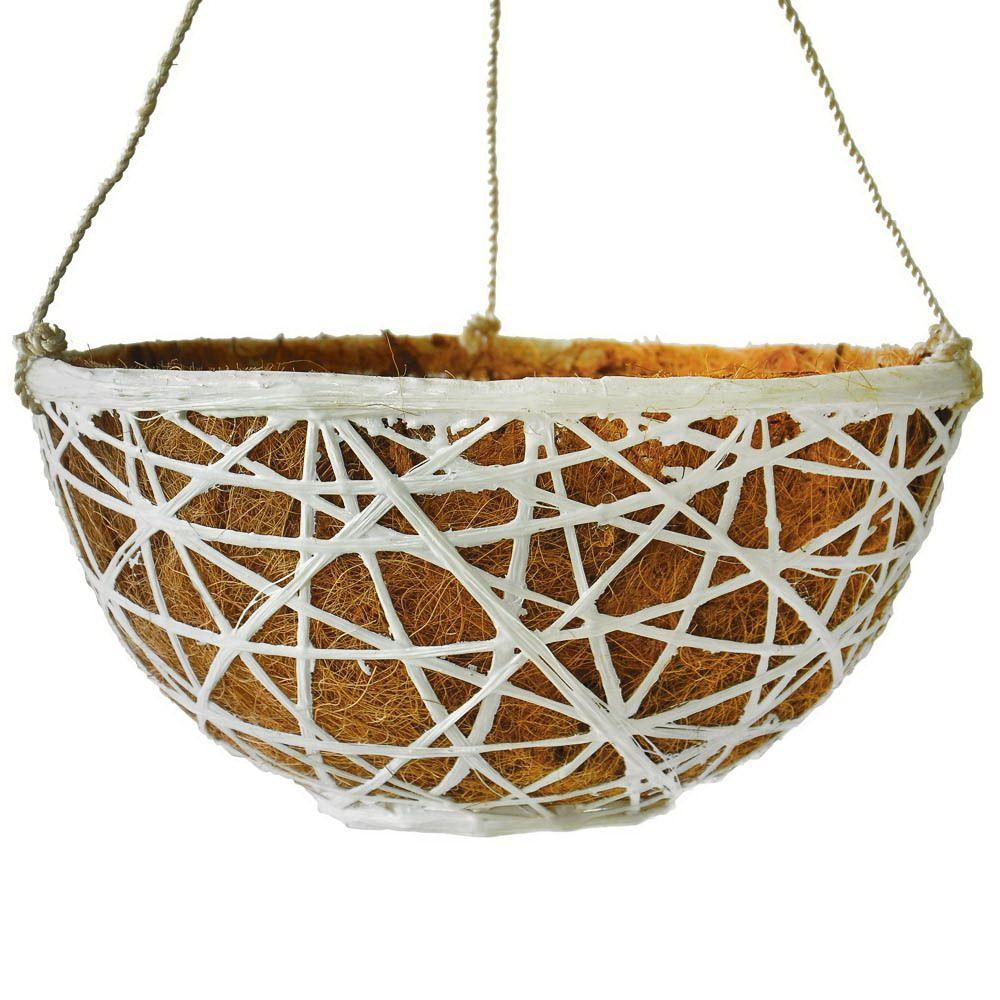 MPG 14 in. D Woven Hanging Planter with Coco Liner in White Finish-DISCONTINUED