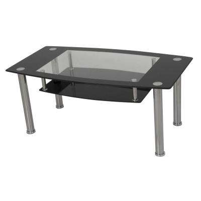 Black and Clear Tempered Glass with Chrome Legs Coffee Table