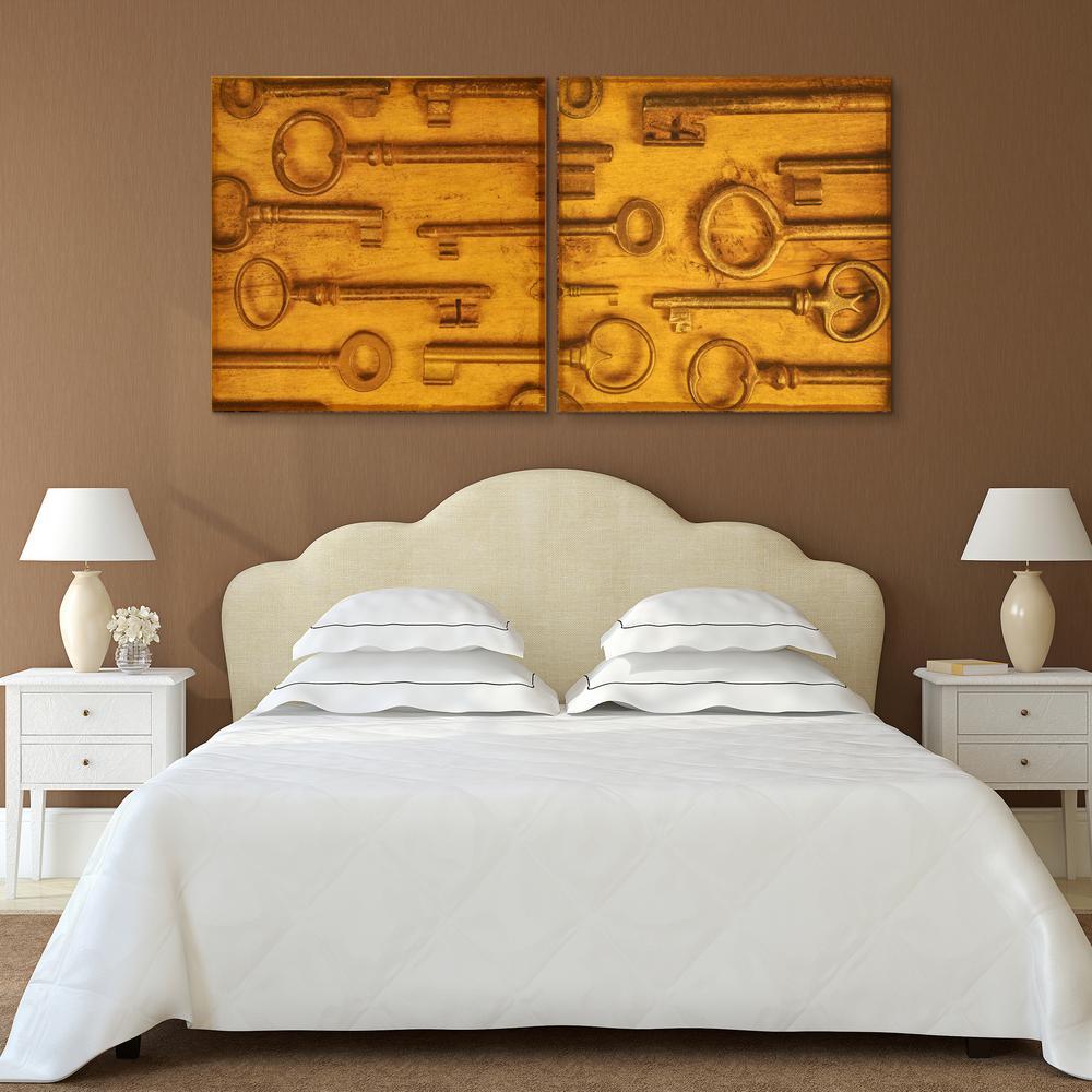 """38 in. x 38 in. """"Antique Keys"""" 2 Piece Digital Print on Fresco Jute Wall Art"""