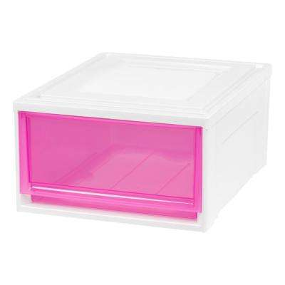 15.75 in. x 9 in. Medium Box Chest Drawer White with Pink Drawers (3-Pack)
