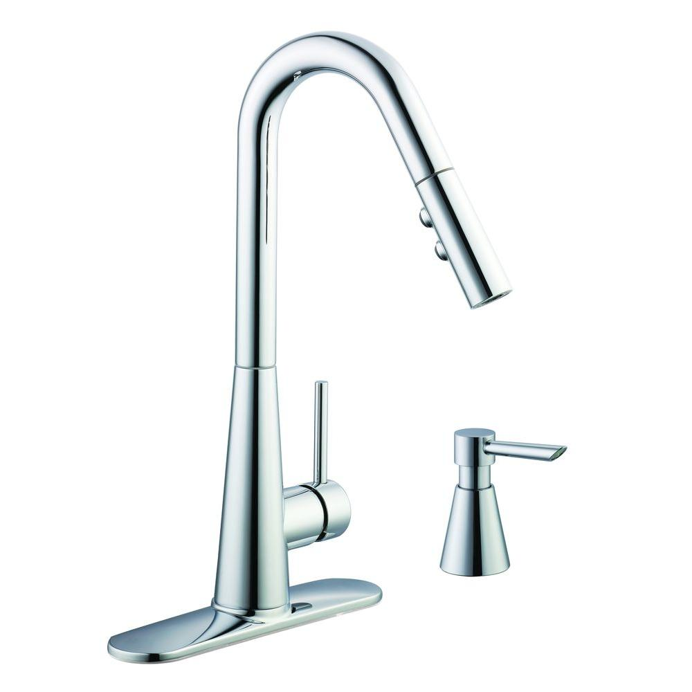 Glacier Bay 950 Series Single-Handle Pull-Down Sprayer Kitchen Faucet with Soap Dispenser in Chrome