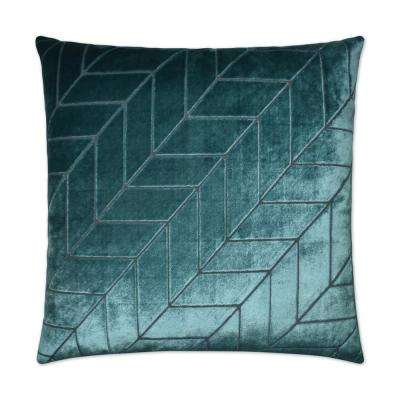 Villa Teal Feather Down 24 in. x 24 in. Decorative Throw Pillow
