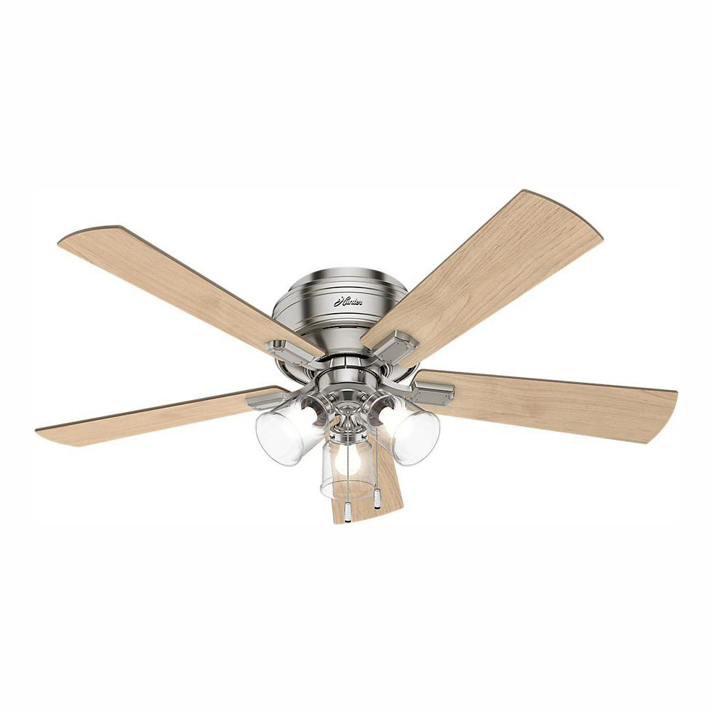 Hunter Crestfield 52 in. LED Indoor Low Profile Brushed Nickel Ceiling Fan with 3-Light Kit