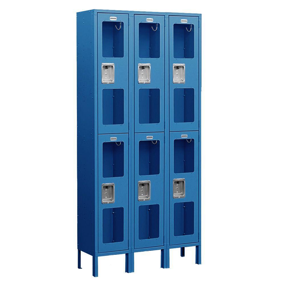 Salsbury Industries S-62000 Series 36 in. W x 78 in. H x 15 in. D 2-Tier See-Through Metal Locker Unassembled in Blue