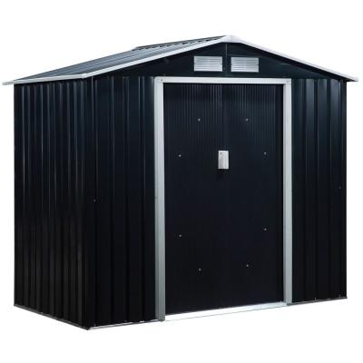 4 ft. x 7 ft. x 6 ft. Grey Metal Outdoor Backyard Shed with 4 Vents and 2 Sliding Doors