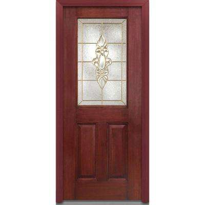 32 in. x 80 in. Heirloom Master Right-Hand Inswing 1/2-Lite Decorative Stained Fiberglass Mahogany Prehung Front Door