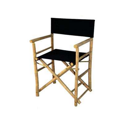 19 in. L 23 in. W 35 in. H Bamboo Director Chairs, Black Canvas (Set of 2)