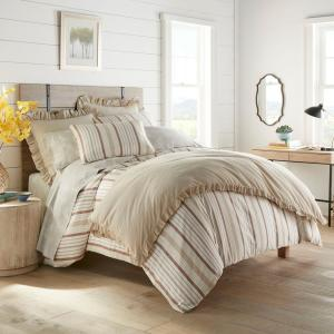 Conrad 3-Piece Brown Striped Cotton Full/Queen Duvet Cover Set