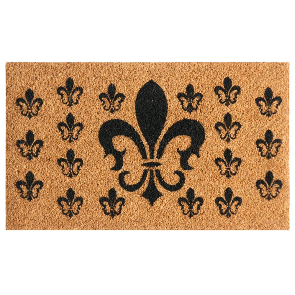 French Coat of Arms 18 in. x 30 in. Fleur de Lis Door Mat