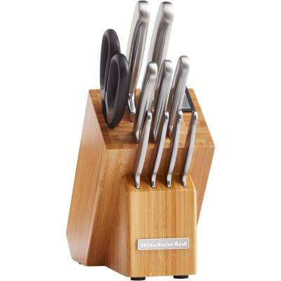 12-Piece Classic Forged Brushed Stainless Steel Knife Set with Bamboo Storage Block