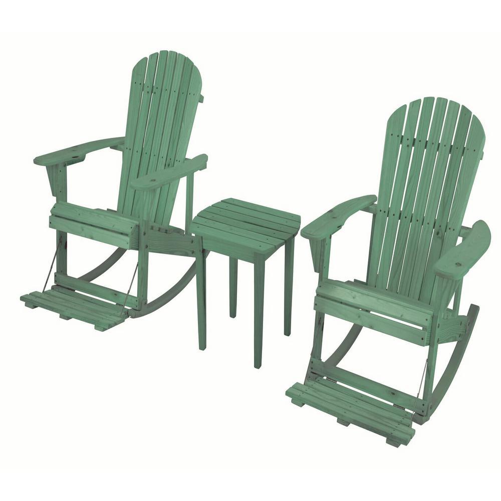 Zero Gravity Sea Green 3-Piece Wood Adirondack Rocking Chair Bistro Set