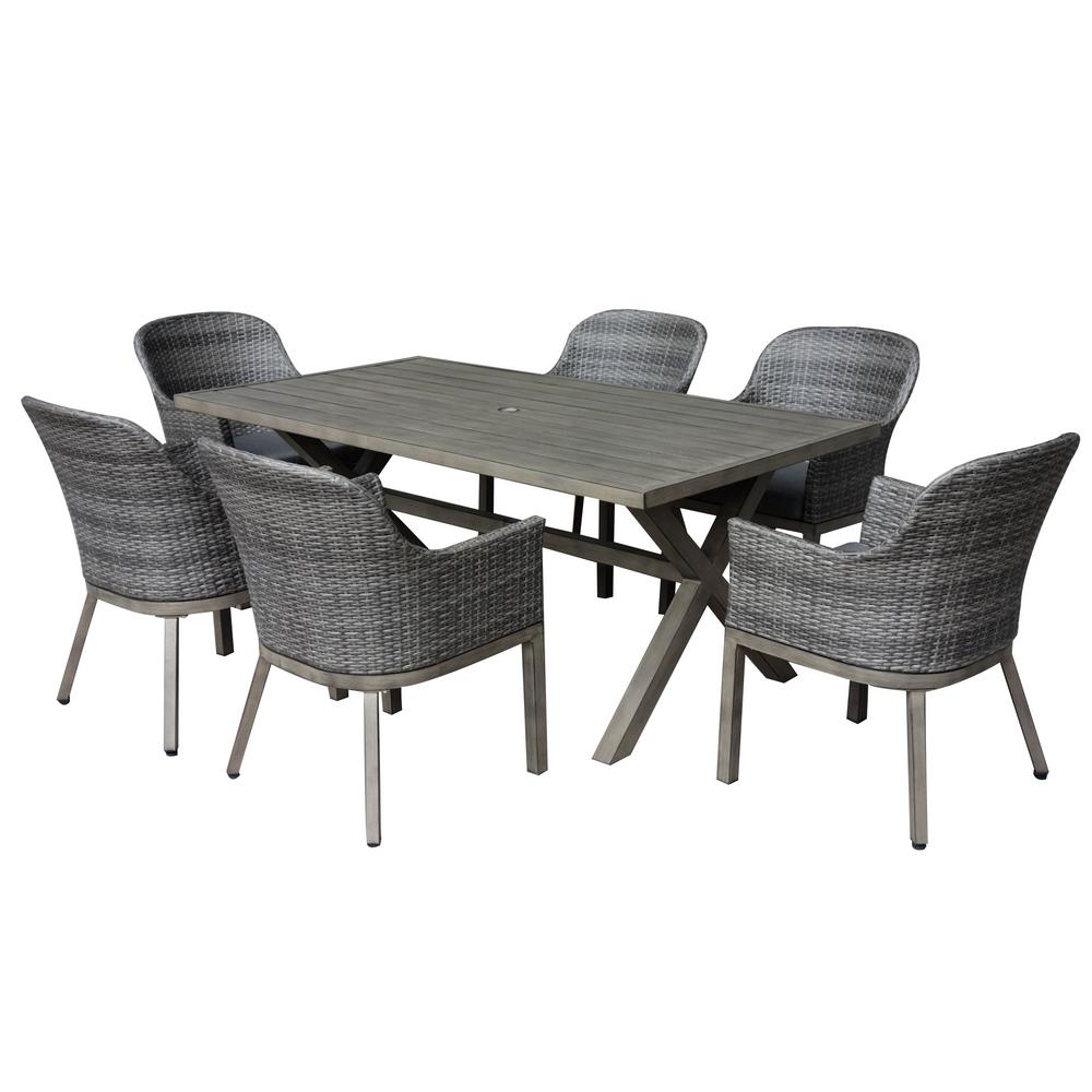 Crown view 7 piece wicker rectangular outdoor patio dining set with grey