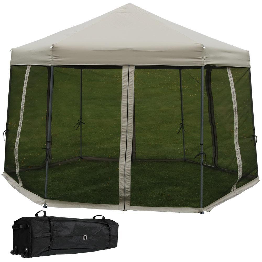 12 ft. Grey Instant Hexagon Canopy Gazebo