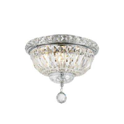 Empire Collection 4-Light Chrome Ceiling Light with Clear Crystal