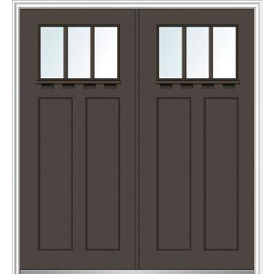 64 in. x 80 in. Shaker Right-Hand Inswing 3-Lite Clear Low-E Painted Fiberglass Smooth Prehung Front Door with Shelf