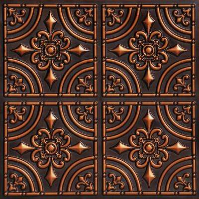 Iron Wrought 2 ft. x 2 ft. PVC Glue-up Ceiling Tile in Antique Copper