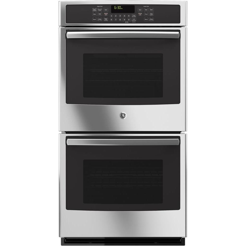 GE 27 in. Double Electric Wall Oven Self-Cleaning with Steam Plus Convection in Stainless Steel