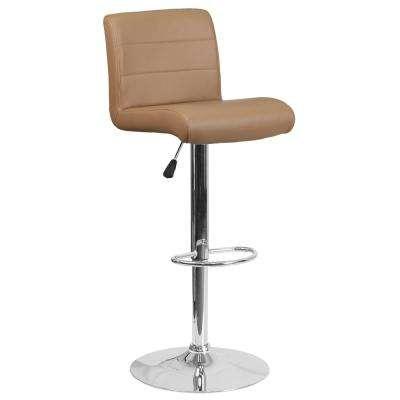 34.50 in. Adjustable Height Cappuccino Cushioned Bar Stool