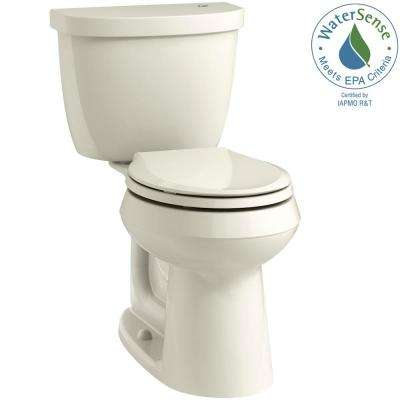 Cimarron Touchless Comfort Height 2-Piece 1.28 GPF Single Flush Round Toilet in Biscuit, Seat Not Included