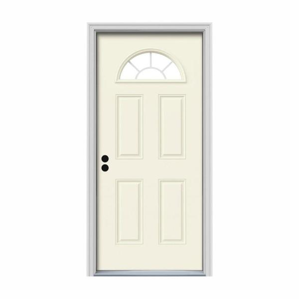 36 in. x 80 in. Fan Lite Vanilla Painted Steel Prehung Right-Hand Inswing Front Door w/Brickmould