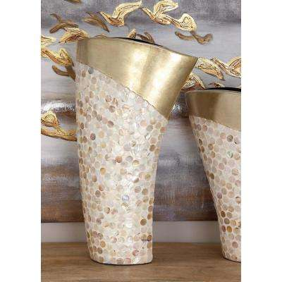 White and Gold Ceramic Mother of Pearl Decorative Vase