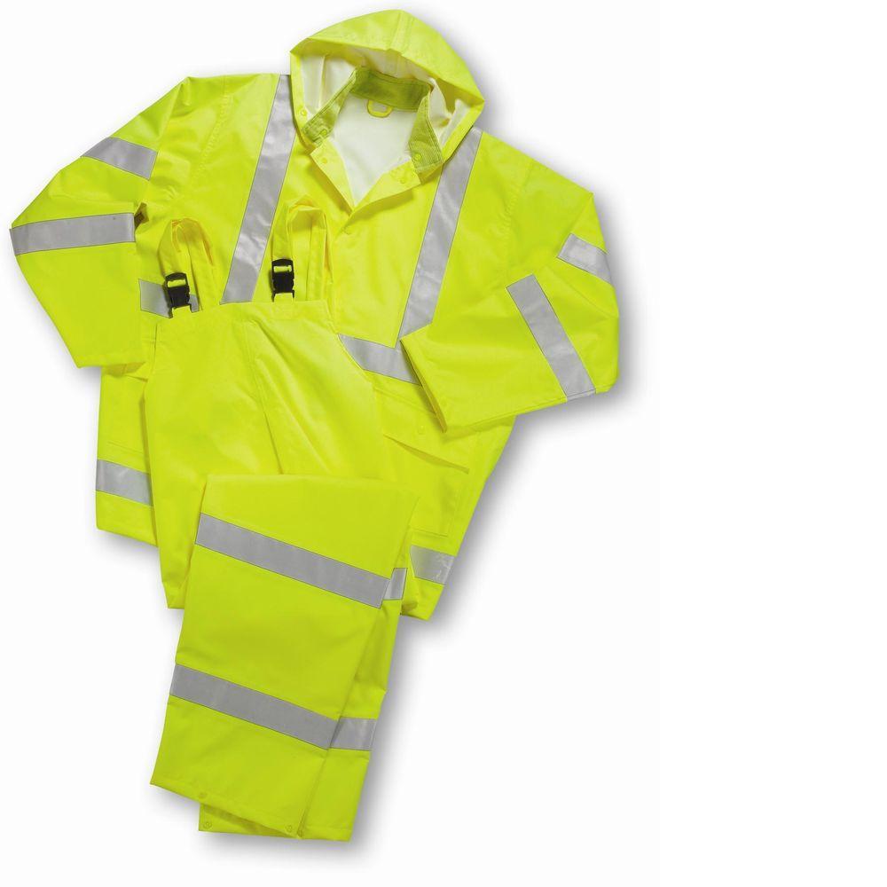 d0fc2778df788 Hi Vis Lime Class 3 Size Medium Rainsuit 3-Pieces. (1). Poly Oxford  construction for breathability and longevity  High-visibility jacket ...