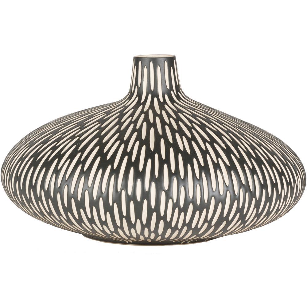 Banmor 8.75 in. Black Ceramic Decorative Vase