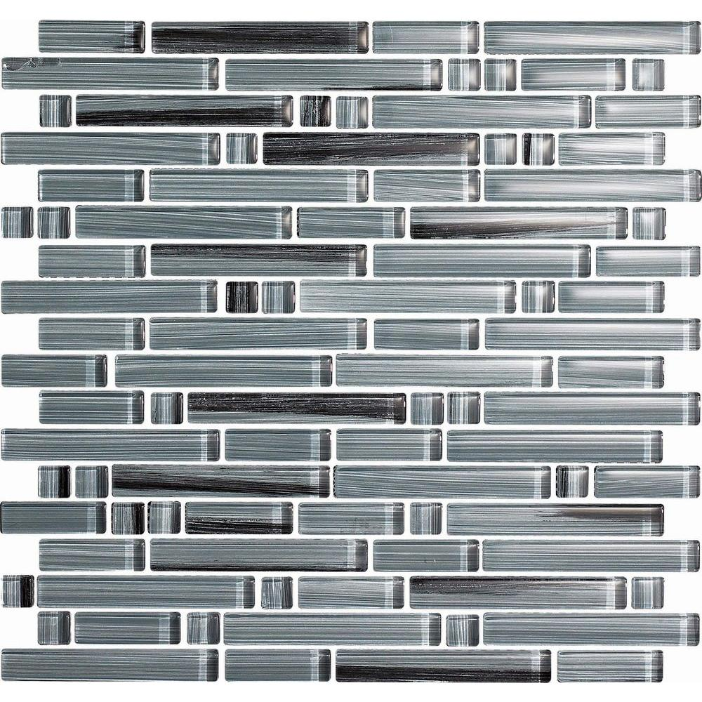 null Brushstrokes Peltro-1505-S Strips Mosaic Glass Mesh Mounted - 2 in. x 12 in. Tile Sample