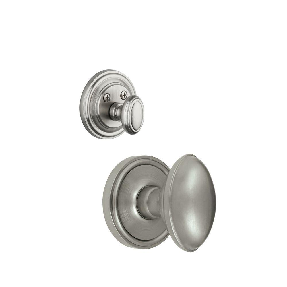 Grandeur Georgetown Single Cylinder Satin Nickel Combo Pack Keyed Differently with Eden Prairie Knob and Matching Deadbolt