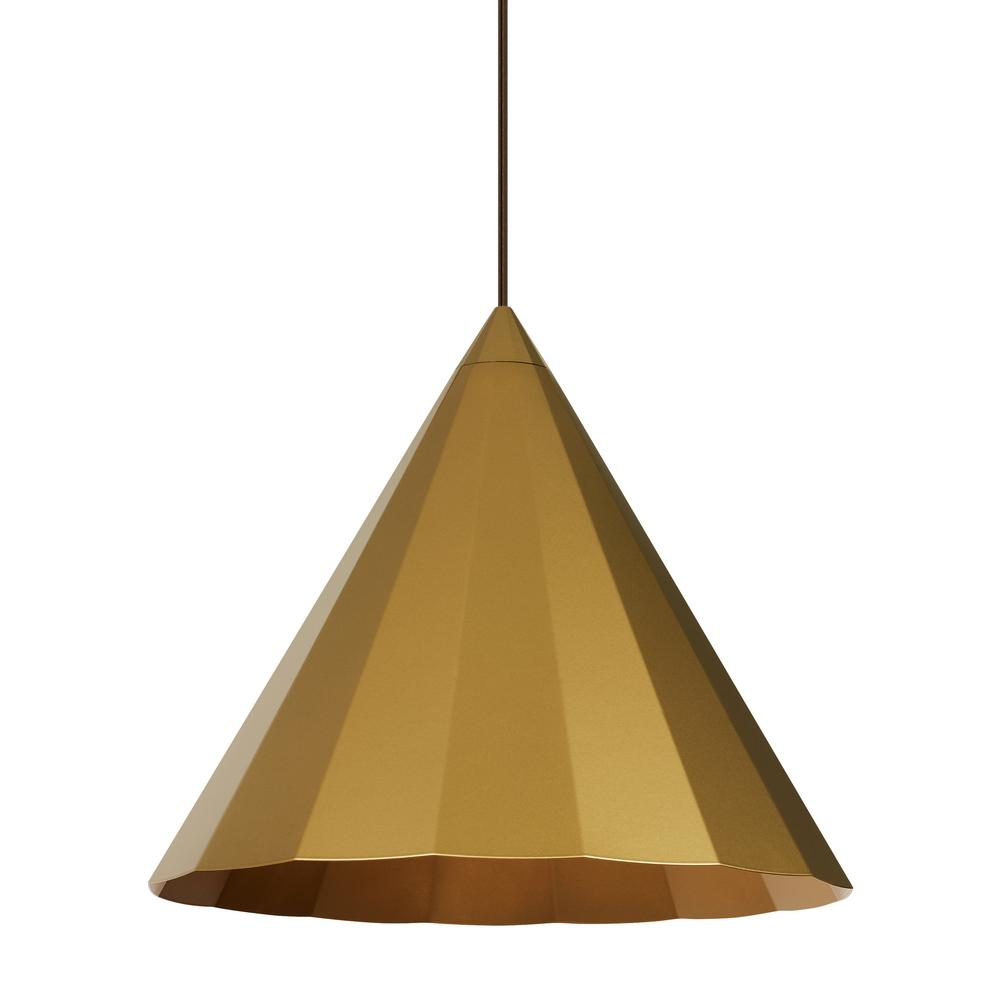 LBL Lighting Astora Grande 17.6 in W 1-Light Satin Gold Modern Metal Faceted Cone Pendant with 6 Feet of Adjustable Bronze Cloth Cord LBL Lighting Astora Grande 17.6 in W 1-Light Satin Gold Modern Metal Faceted Cone Pendant with 6 Feet of Adjustable Bronze Cloth Cord