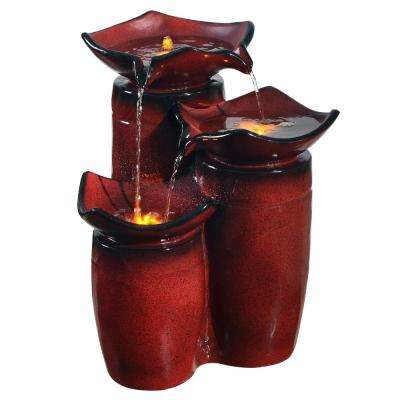 Outdoor 3-Tier Glazed Cascade Pots Fountain in Gradient Red
