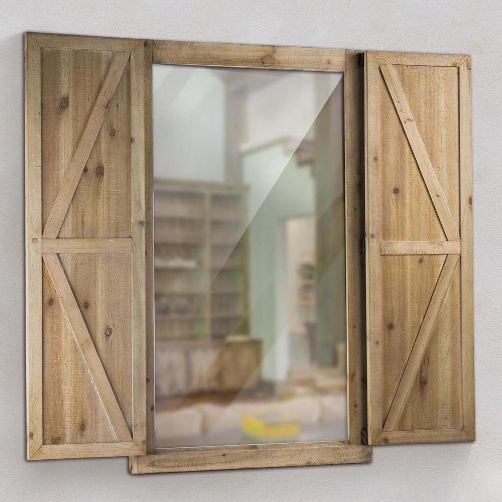 Crystal Art Gallery Shuttered Wall Mirror With Rustic Wooden Frame