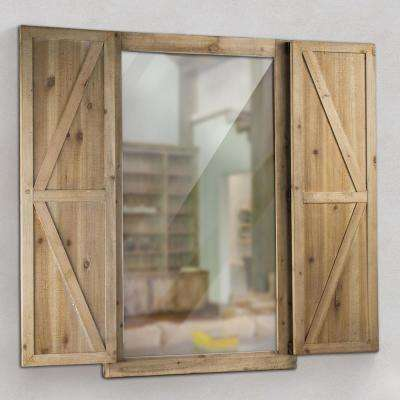 Shuttered Wall Mirror With Rustic Wooden Frame