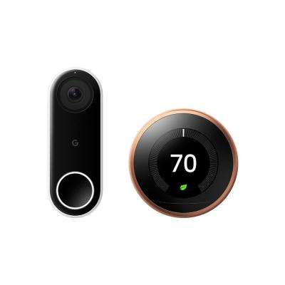 Nest Hello Video Doorbell + Nest Learning Thermostat 3rd Gen Copper