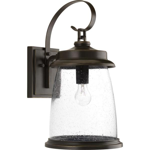 Conover Collection 1-Light Antique Bronze 21 in. Outdoor Wall Lantern Sconce
