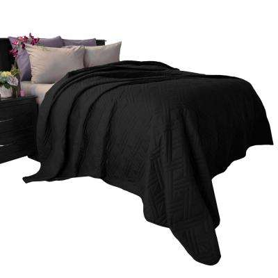 Solid Color Black King Bed Quilt