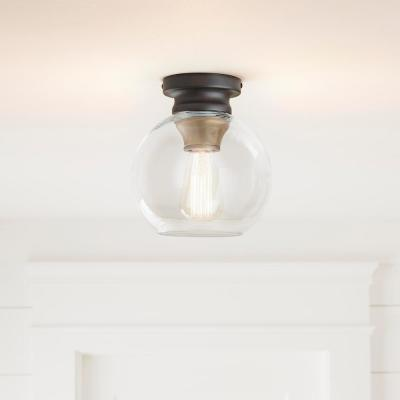Evelyn 1-Light Artisan Bronze Flush Mount with Clear Glass