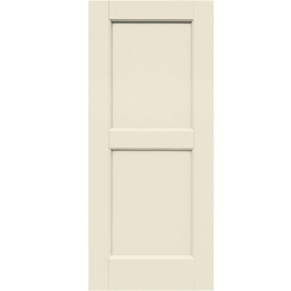 Winworks Wood Composite 15 in. x 35 in. Contemporary Flat Panel Shutters Pair #651 Primed/Paintable