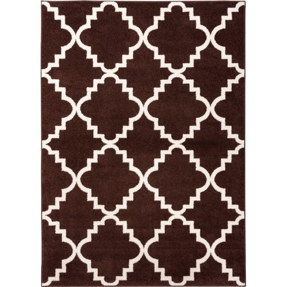 Well Woven Sydney Lulu's Lattice Trellis Brown 2 ft. 3 in. x 3 ft. 11 in. Modern Area Rug