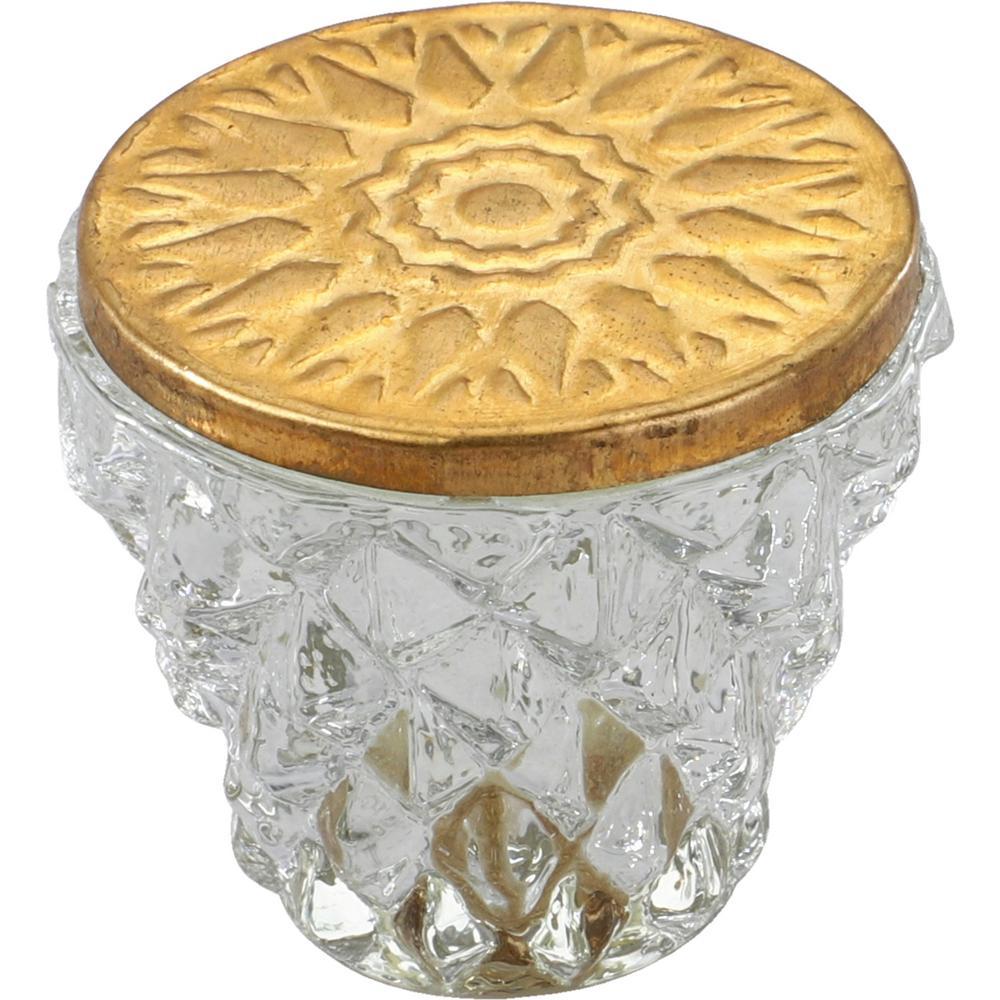Diamond Cut 1-1/2 in. Clear Golden Head Cabinet Knob