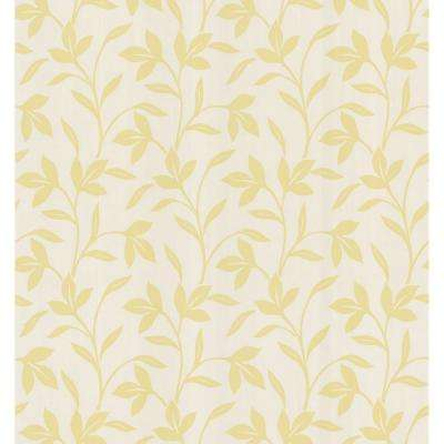 Simple Space Light Yellow Leaf Trail Wallpaper Sample