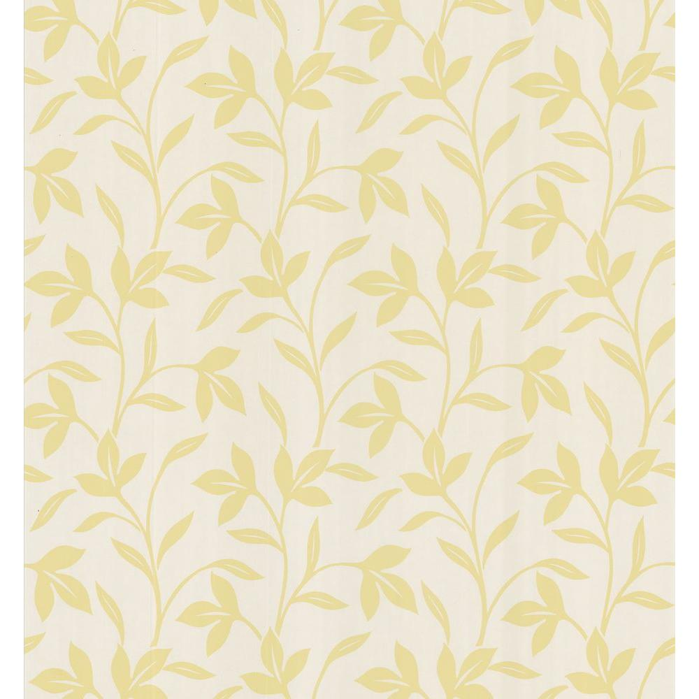 Brewster simple space light yellow leaf trail wallpaper for Yellow wallpaper home depot