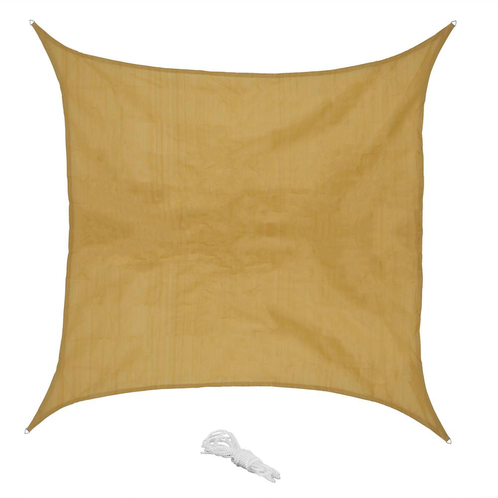 12 ft. x 12 ft. Beige Square Sun Shade Sail for