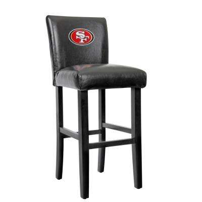 San Francisco 49ers 30 in. Black Bar Stool with Faux Leather Cover (Set of 2)