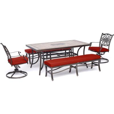 Monaco 5-Piece Aluminum Outdoor Dining Set with Red Cushioned Swivel Rockers and 2 Benches