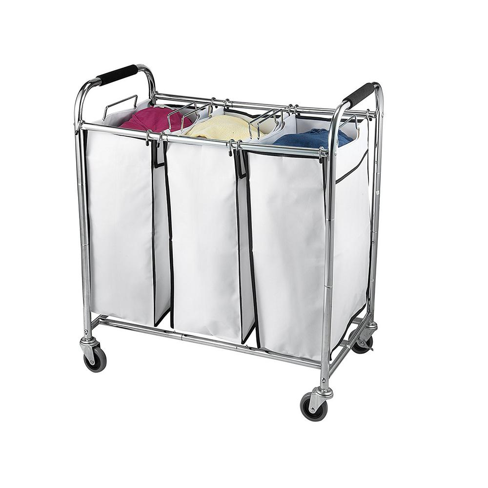 Sagler 3 Section Laundry Sorter Hamper On Wheels Rolling Cart Heavy Duty