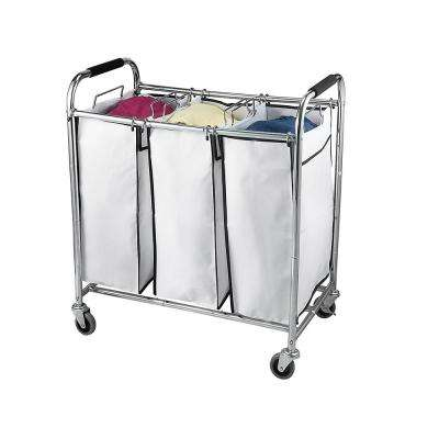 3 Section Laundry Sorter Hamper on Wheels, Rolling Cart, Heavy Duty