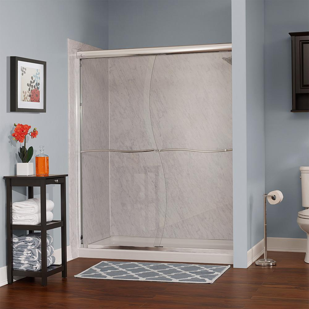 Foremost Marina 46 in. W x 72 in. H Framesless Sliding Shower Door in Oil Rubbed Bronze